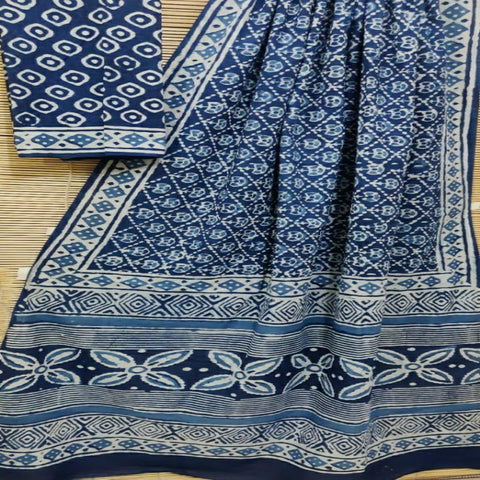 Mul cotton hand block indigo printed saree