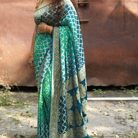 Pure Georgette Banarasi Zari Woven Bandhani Saree - Blue and sea green