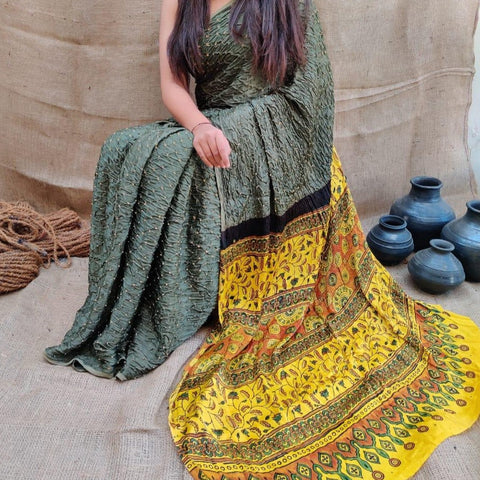 Modal Silk Bandhani Saree with Ajrakh Pallu - Olive Green and Yellow