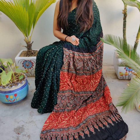 Modal Silk Bandhani Saree with Ajrakh Pallu - Dark Green