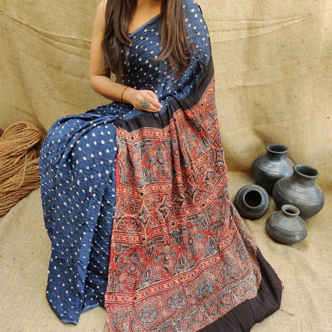 Modal Silk Bandhani Saree with Ajrakh Pallu - Grey