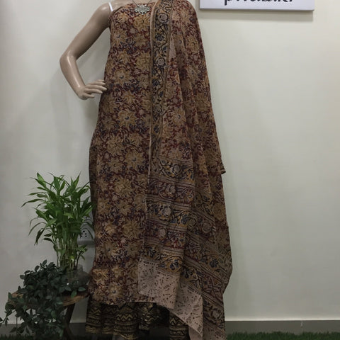 Cotton hand block Kalamkari kurta fabric and dupatta