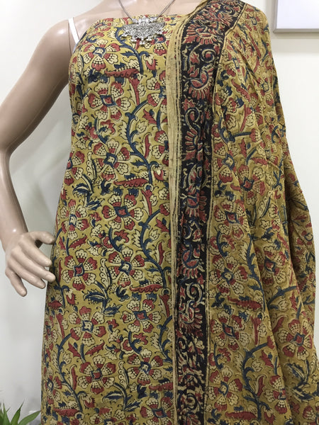 Cotton hand block Kalamkari kurta fabric and dupatta - Design 3