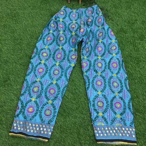 Chanderi Embroidery Pant - sky blue