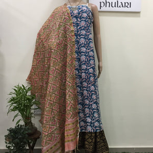 Hand block print cotton kurta and chanderi dupatta