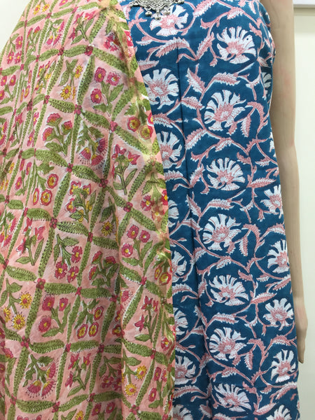 Handblock print cotton kurta and chanderi dupatta- Blue and Light Pink