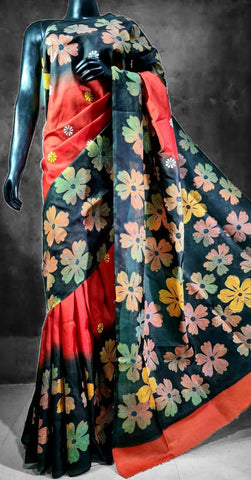 Pure Banglori Silk with Kantha Hand Stitch and Hand Painted Saree- Red and Black Flowers