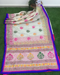 Chanderi Hand-Embroidered Phulkari Saree- Off White