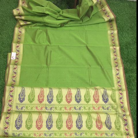 Cotton Silk Banarasi With Meenkari Border Saree