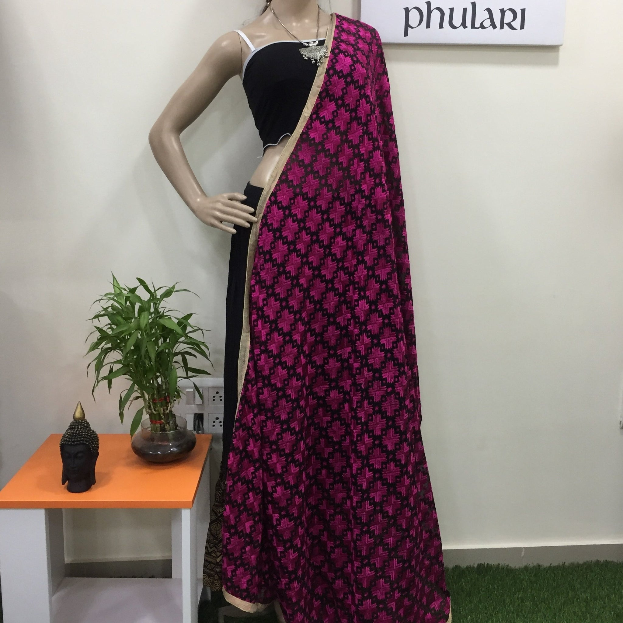 Chiffon Phulkari Dupatta - Black and Pink