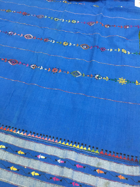 Khesh Cotton Kantha Stitch dupatta - Blue