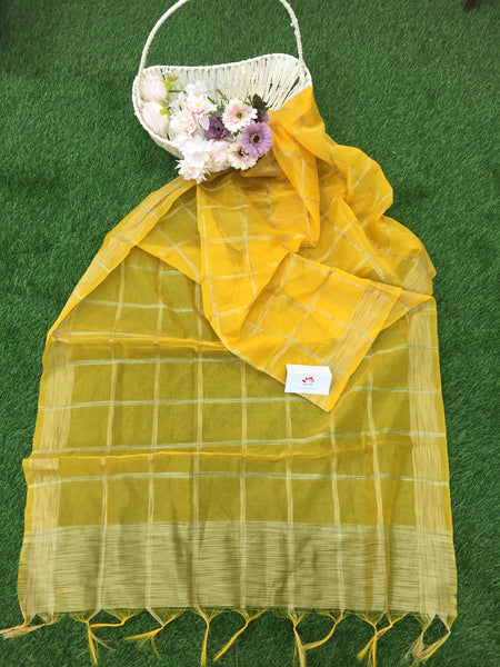 Kheeja Cotton With Zari Checks Dupatta