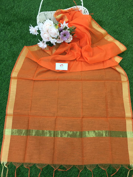 Cotton Silk Dupatta With Zari Border - Various Colors 2