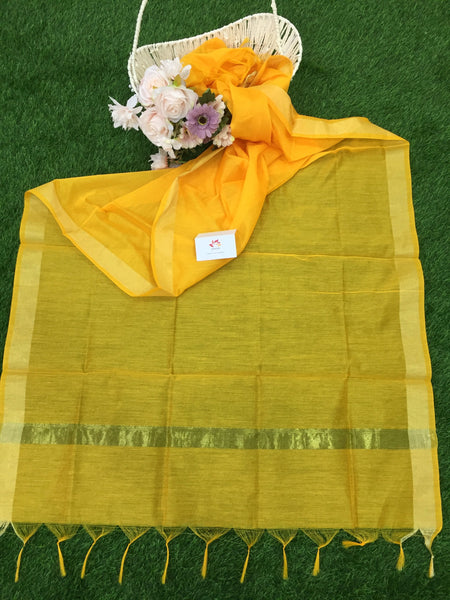 Cotton Silk Dupatta With Zari Border