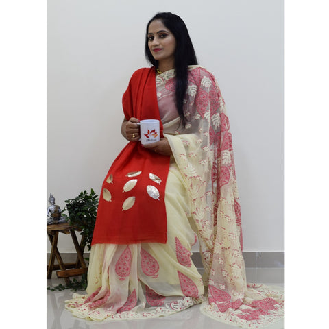 Georgette Chikankari  Saree - Cream Pink