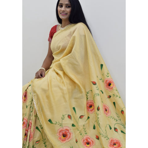 Chanderi Hand Painted Saree with Flowers - Beige Gold