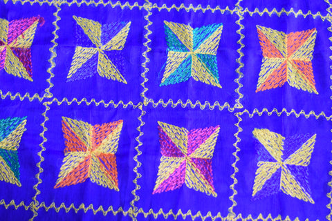 Traditional Light Bagh Phulkari Dupatta (PE01) - Royal Blue - Phulari