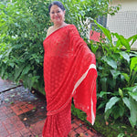 Phulkari Chiffon Saree with Kanchan Embroidery  - Red
