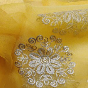 Organza Embroidered Dupatta- Yellow