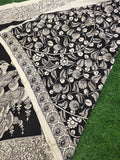 Chennur Silk Kalamkari Saree- Black and White