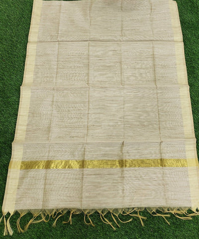 Handloom cotton silk with zari border dupatta