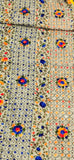 Hand Embroidered Phulkari Chanderi Dupatta with Pom Pom Border - Gold Base (Flower strip)