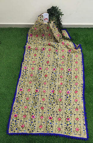 Hand Embroidered Phulkari Chanderi Dupatta with Pom Pom Border
