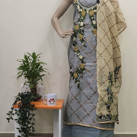 Chanderi Hand Embroidered With Gotapatti Salwar Suit Unstitched Fabric