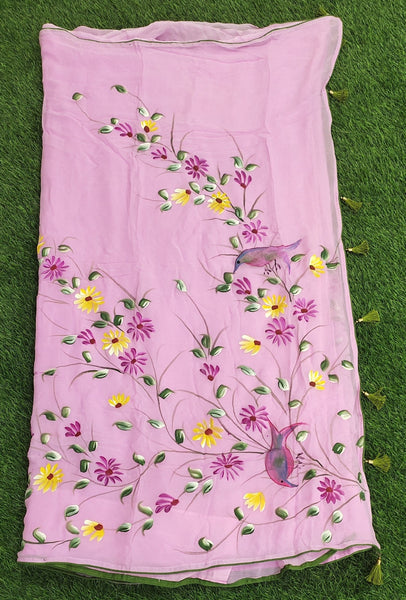 Georgette hand-painted saree