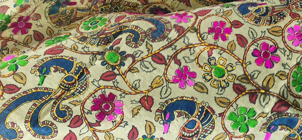 Hand Embroidery Madhubani Chanderi Dupatta - Multicolour - Yellow Border