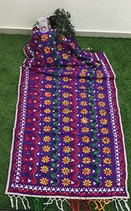 Chanderi Hand Embroidered Dupatta - Jhallar