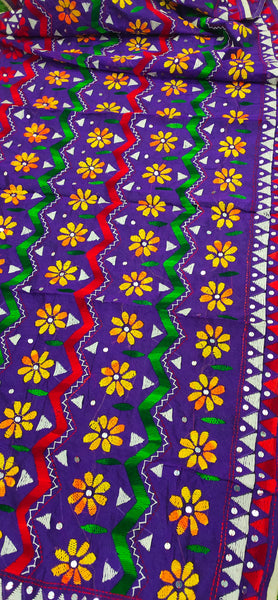 Chanderi Hand Embroidered Dupatta - Jhallar - Purple