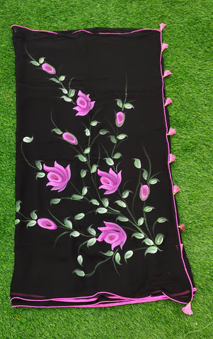 Georgette Hand Painted Saree - Roses - Black