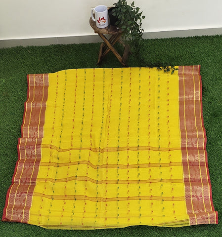 Handloom cotton woven with saree with zari border