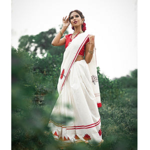 Handloom cotton with lotus applique work saree - White and Red