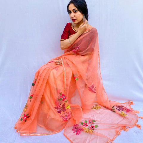 Organza Hand-Painted Saree with Flowers - Peach