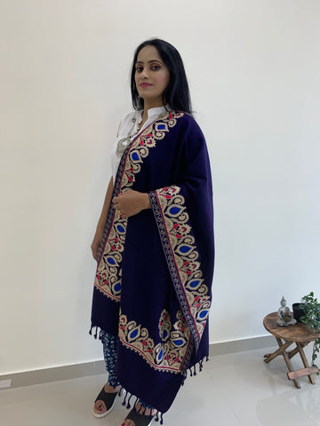 Pure Wool With Kashmiri Embroidery Stole - Indigo