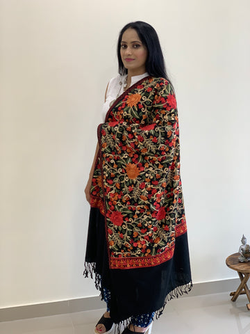 Pure Wool With Kashmiri Embroidery Stole - Black