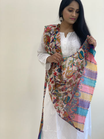 Pashmina Wool Digital Printed Jama Stole - White