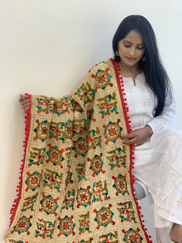 Hand Embroidered Phulkari Chanderi Dupatta with Pom Pom Border - Gold Base (Red border)