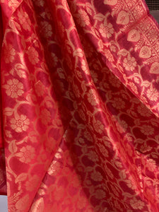Banarasi Cotton Silk Dupatta With Floral Jaal In Zari - Red