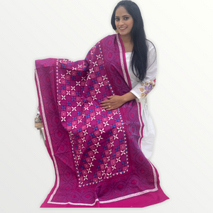 Pure kantha stitch cotton dupatta -  Purplish Pink