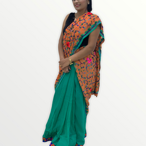 Georgette Half Saree Skirt - Green