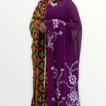 Georgette Hand Painted Saree with Flowers - Wine