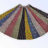 Cotton Ajrakh skirt with tukdi work - Multicolor