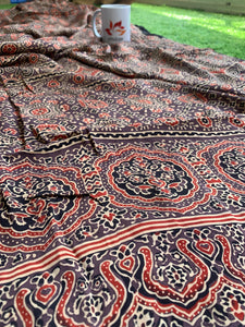 Modal Silk Ajrakh Saree - Brown 03