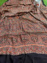 Load image into Gallery viewer, Modal Silk Ajrakh Saree - Brown 03
