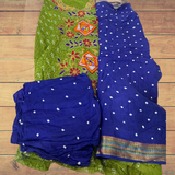 Hand made Bandhani With Kutch Embroidery Unstitched Suit - Royal Blue and Green