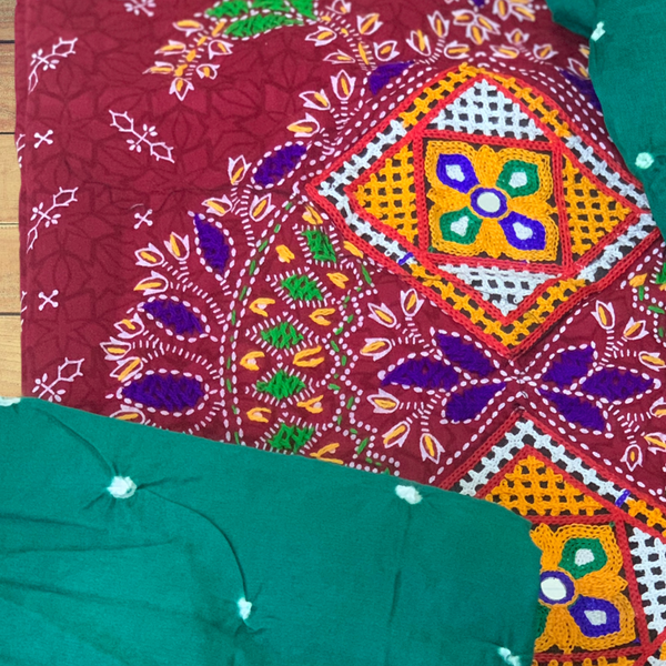 Hand made Bandhani With Kutch Embroidery Unstitched Suit -  Maroon and Teal Green