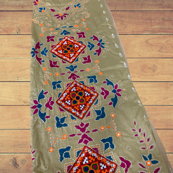 Hand made Bandhani With Kutch Embroidery Unstitched Suit - Beige and Maroon
